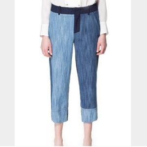Zara Women Patchwork Trouser Pants Size Small